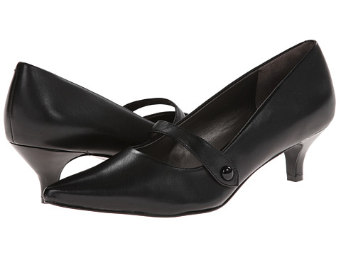 Trotters - Petra (Black Burnished Soft Kid/Patent Man Made) Women's 1-2 inch heel Shoes