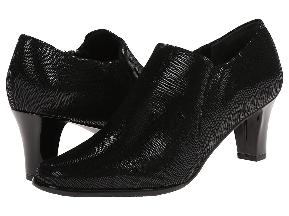 Trotters - Jolie (Black Burnished Soft Kid/Patent Suede Lizard Leather) Women