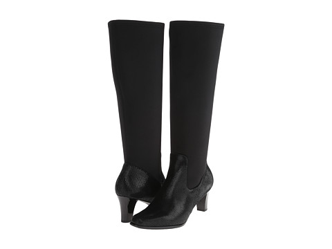 Trotters - Jaxson Too - Wide Calf (Black Patent Suede Lizard Leather/Stretch) Women's Boots