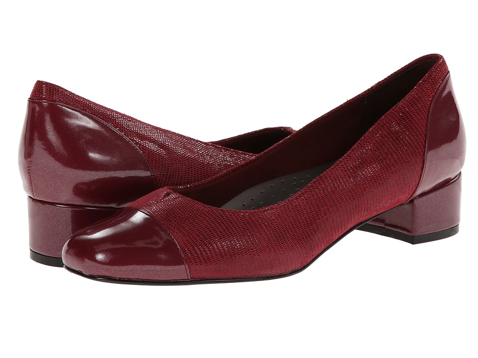 Trotters - Danelle (Dark Red Patent Suede Lizard Leather/Pearlized Patent) Women