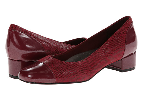 Trotters - Danelle (Dark Red Patent Suede Lizard Leather/Pearlized Patent) Women's Slip on Shoes