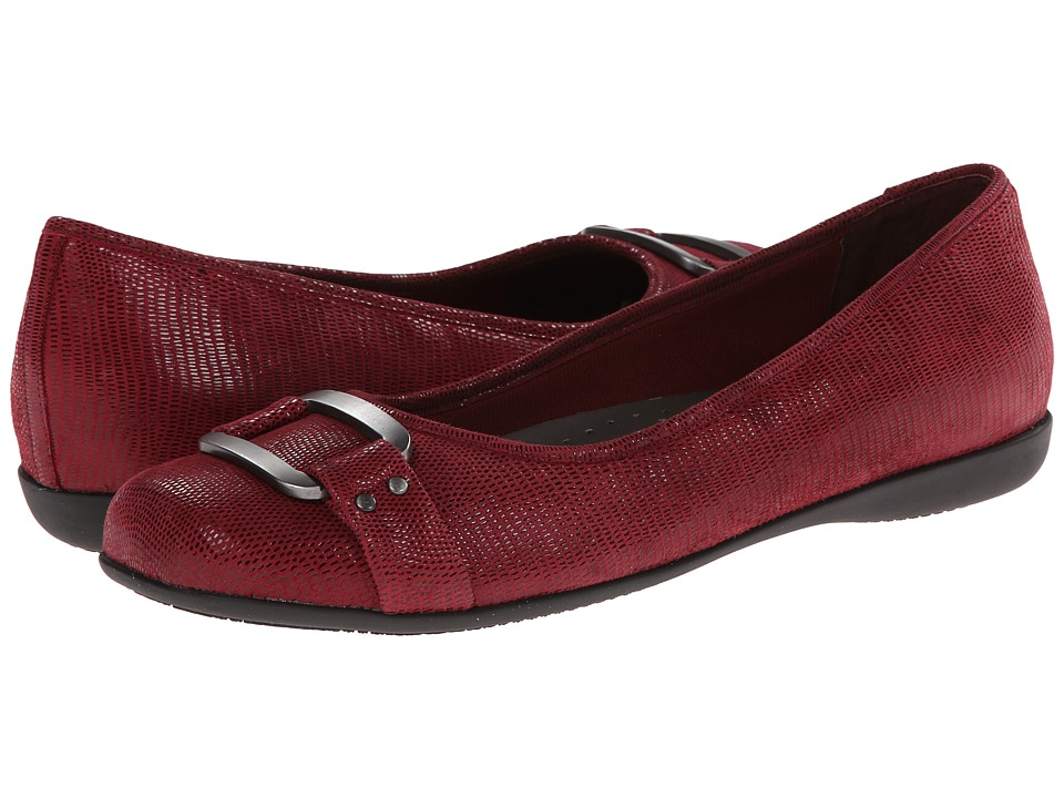 Trotters - Sizzle (Dark Red Patent Suede Lizard Leather) Women's Dress Flat Shoes
