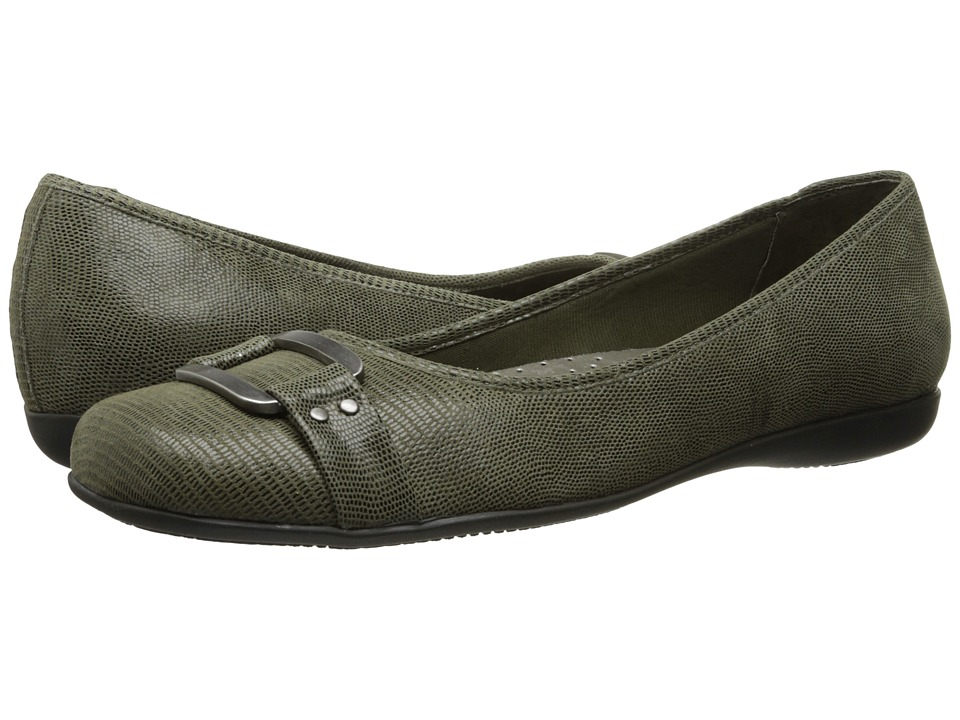 Trotters - Sizzle (Loden Patent Suede Lizard Leather) Women's Dress Flat Shoes