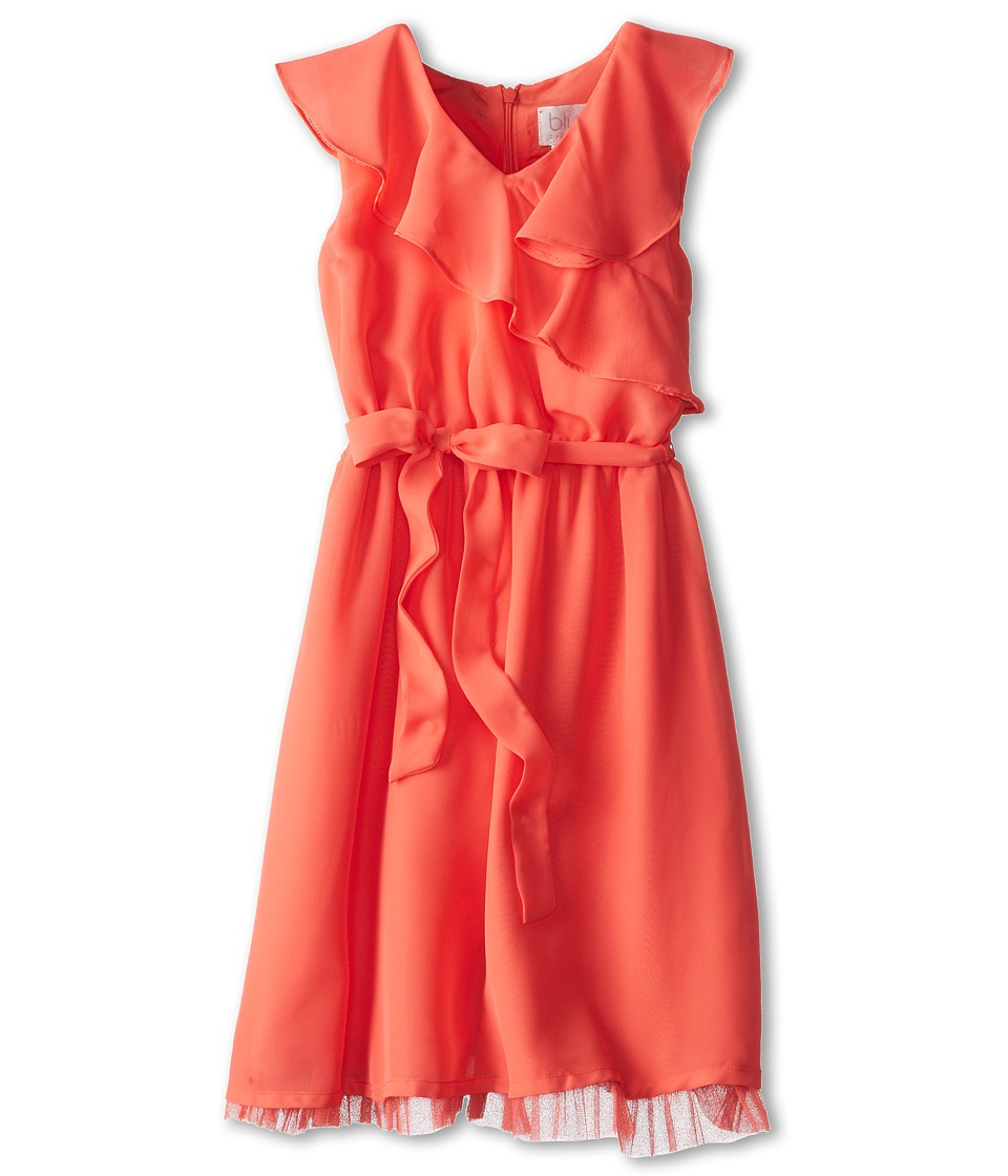 Us Angels - Sleeveless Ruffle Front Waisted Dress (Big Kids) (Coral) Girl
