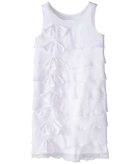 Us Angels - Sleeveless Ruffle Front Bow Dress (Big Kids) (White) Girl's Dress