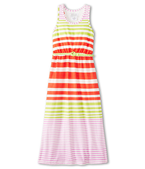 Us Angels - Stripe Racerback Maxi Dress (Big Kids) (Coral) Girl