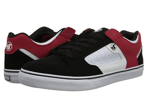 DVS Shoe Company - Militia CT (Black/White/Red Leather) Men's Skate Shoes