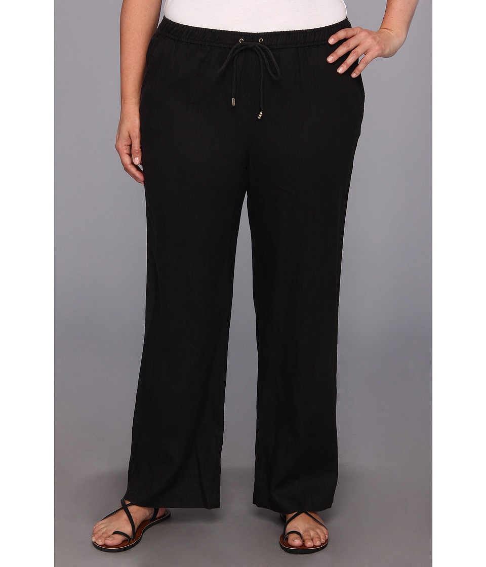 MICHAEL Michael Kors - Plus Size Linen Wide Leg Pant (Black) Women's Casual Pants
