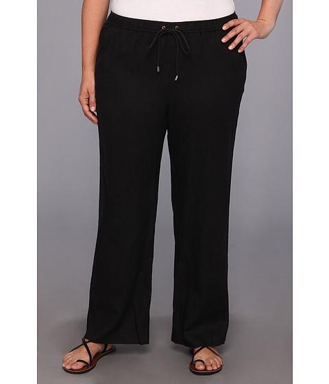 MICHAEL Michael Kors - Plus Size Linen Wide Leg Pant (Black) Women