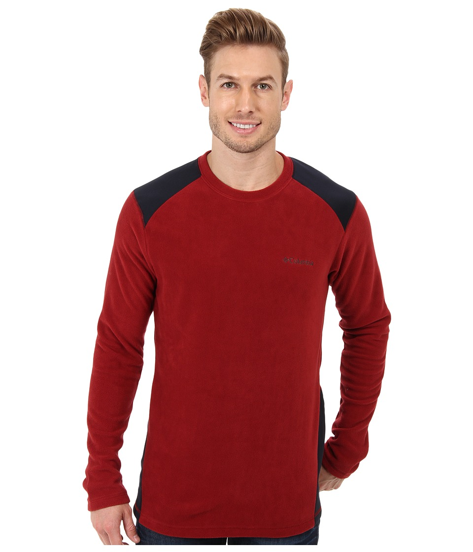 Columbia - Elevator Shaft Hybrid Crew (Red Element/Abyss) Men's Long Sleeve Pullover