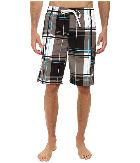 U.S. POLO ASSN. - 11 Block Plaid Cargo Shorts (Black Combo) Men's Swimwear