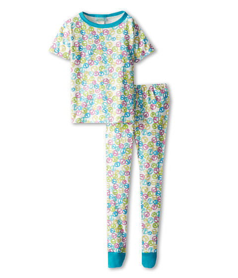 BedHead Kids - Short Sleeve Tween Snug PJ (Big Kids) (Peace Out Green) Kid's Pajama Sets