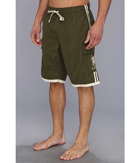 U.S. POLO ASSN. - 11 Side Stripe Cargo BP (Forrest Night) Men's Swimwear