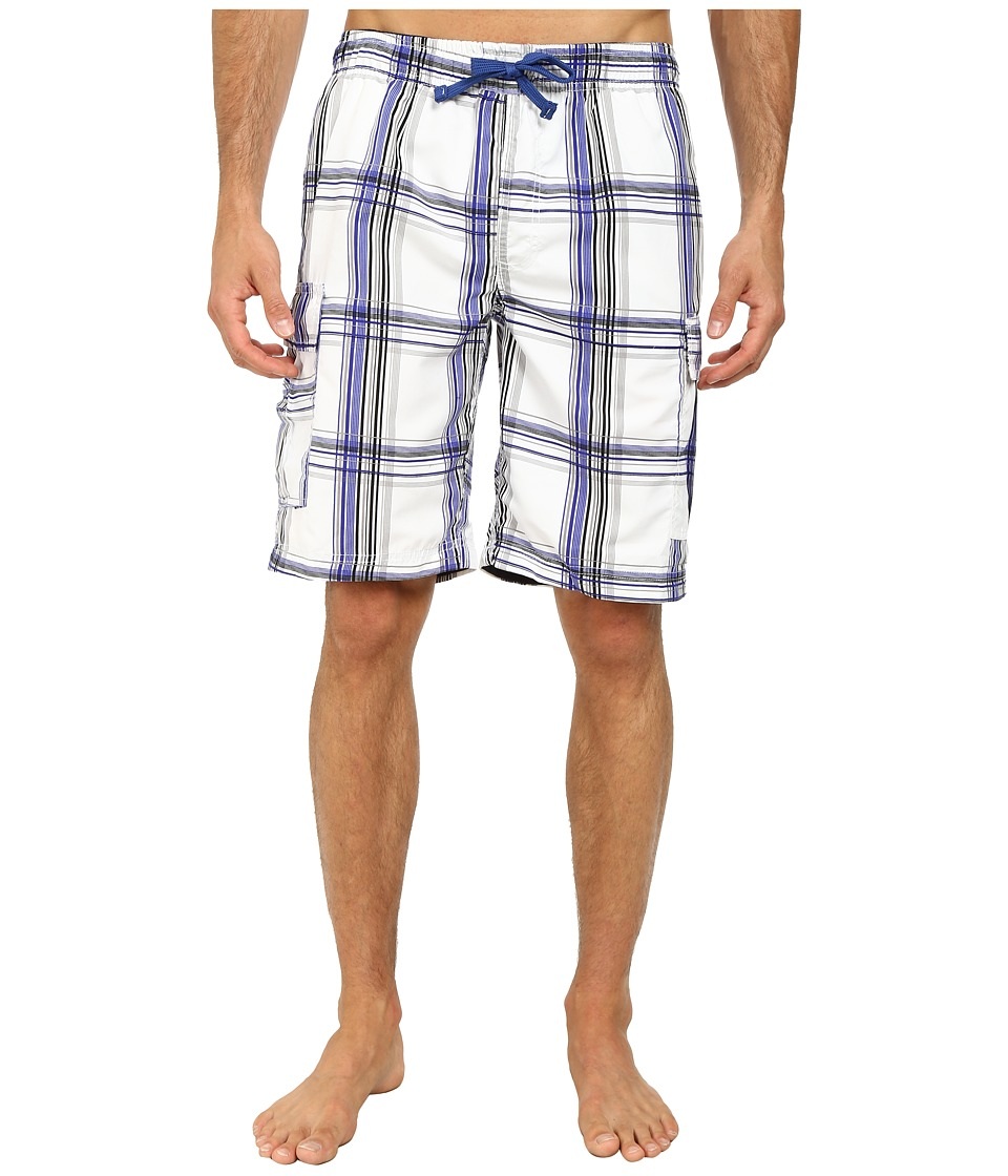 U.S. POLO ASSN. - 11 Woven Plaid Cargo (White/Cobalt Blue) Men's Swimwear