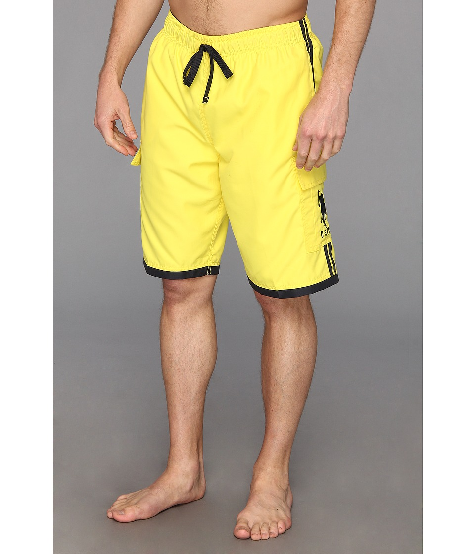 U.S. POLO ASSN. - 11 Side Stripe Cargo BP (Laser Yellow) Men's Swimwear