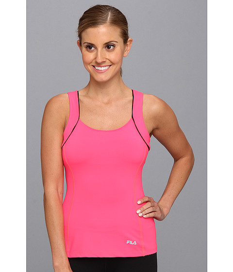 Fila - Lacy Racerback (Diva Pink/Black/Safety Yellow) Women