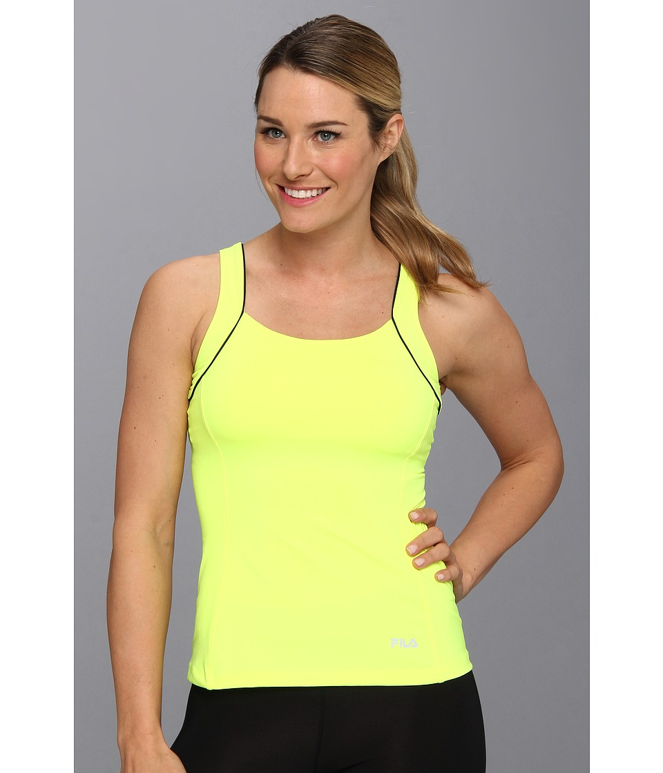 Fila - Lacy Racerback (Safety Yellow/Black/Diva Pink) Women's Workout