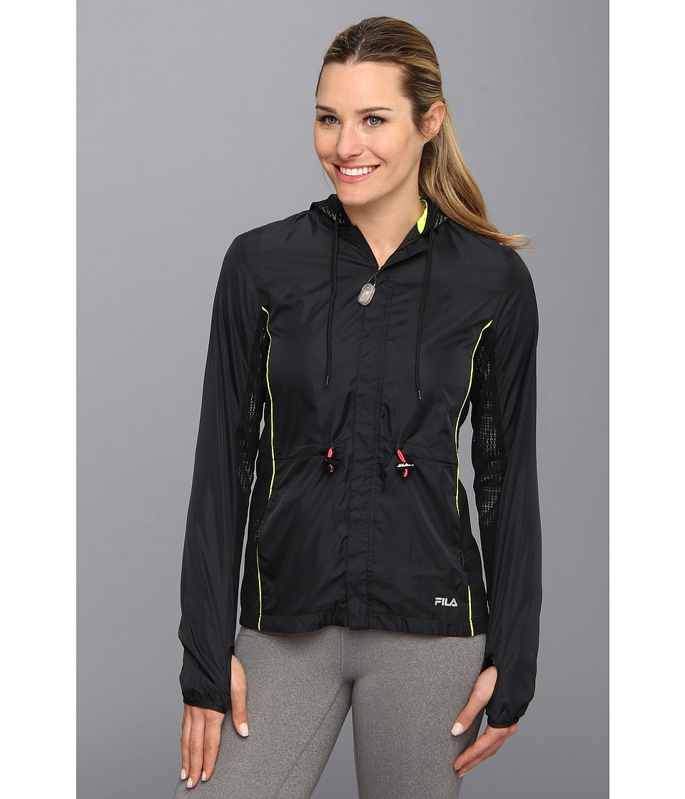 Fila - Lacy Wind Jacket (Black/Safety Yellow/Diva Pink) Women's Jacket
