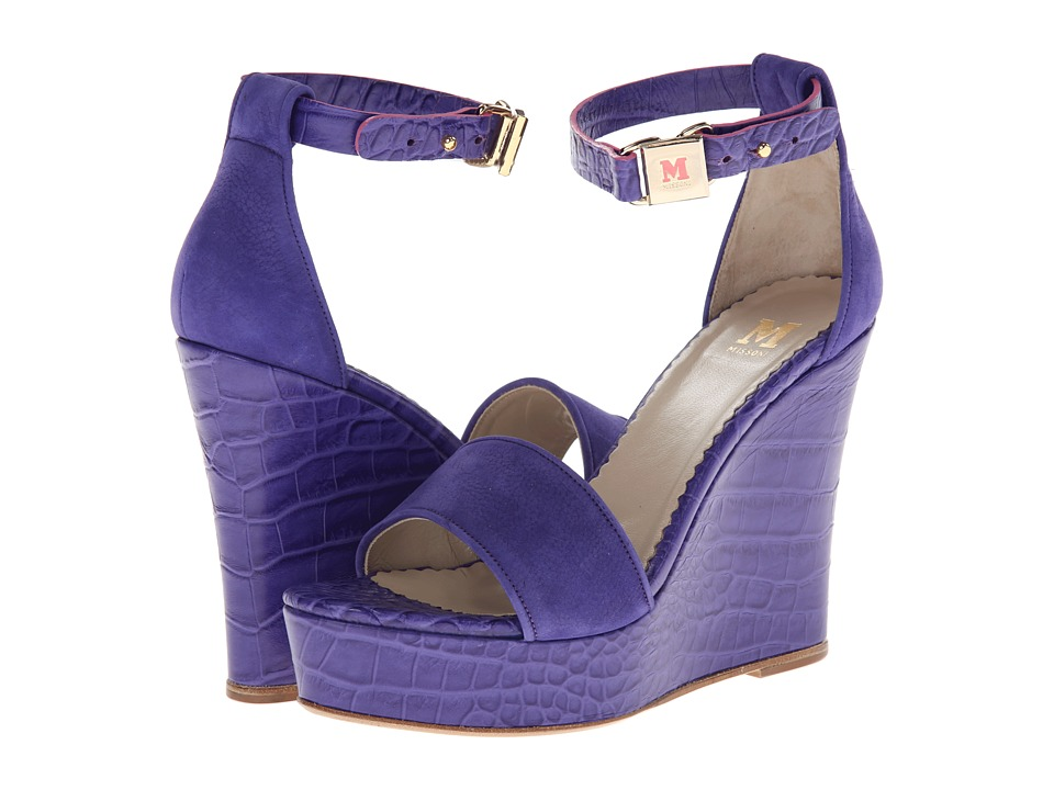 M Missoni - Suede/Leather Embossed Wedge (Purple) Women's Wedge Shoes