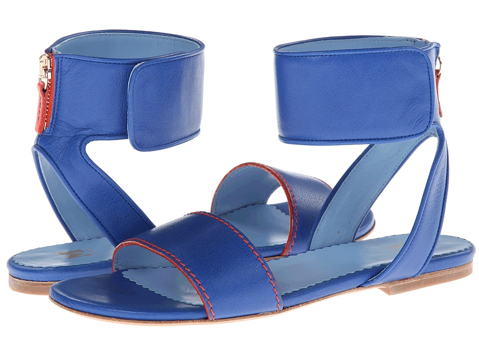 M Missoni - Leather Sandal w/ Contrast Piping (Cobalt/Cobalt/Academy) Women