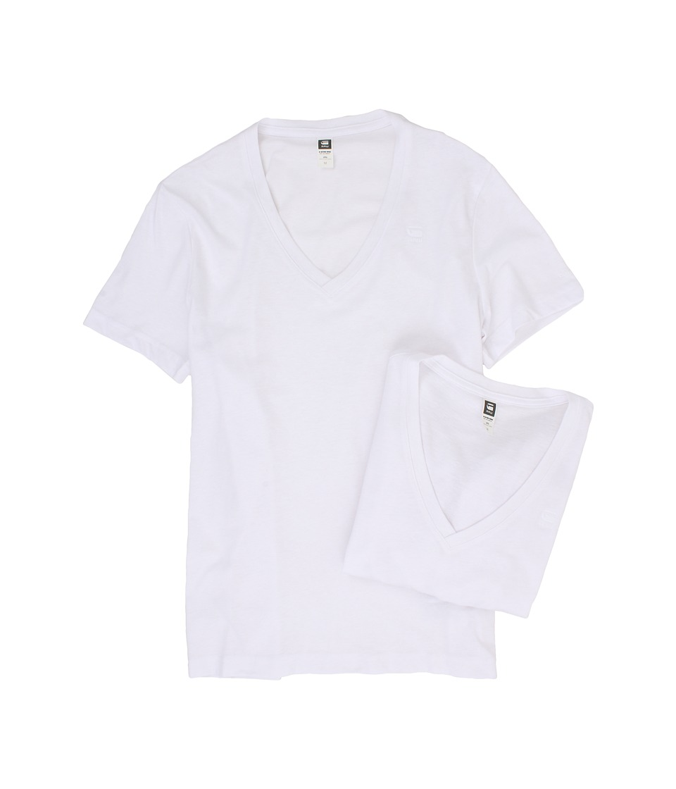 G-Star - Base Heather V-Neck Tee 2-Pack (Solid White) Men's Short Sleeve Pullover