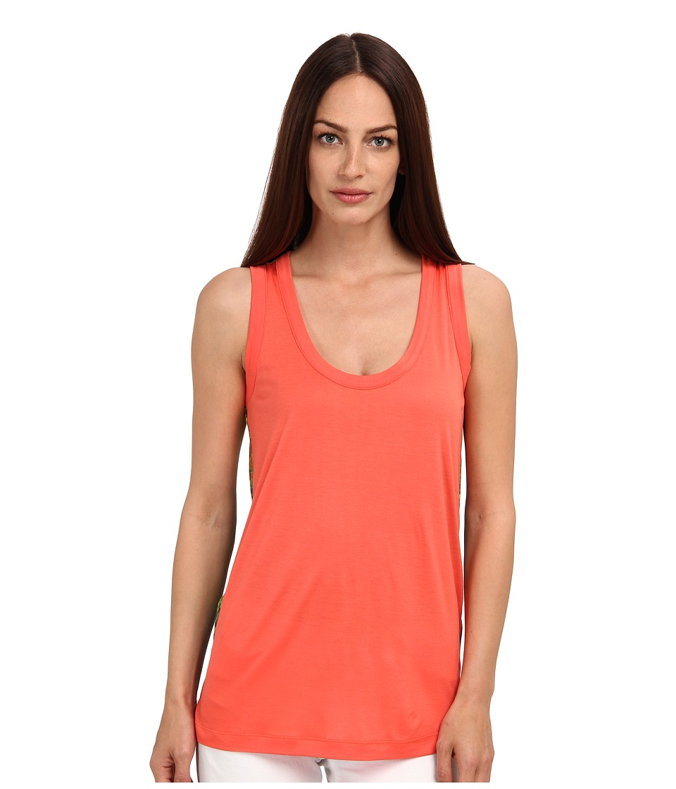 M Missoni - Zig Zag Jersey/Silk Tank Top (Coral) Women's Sleeveless