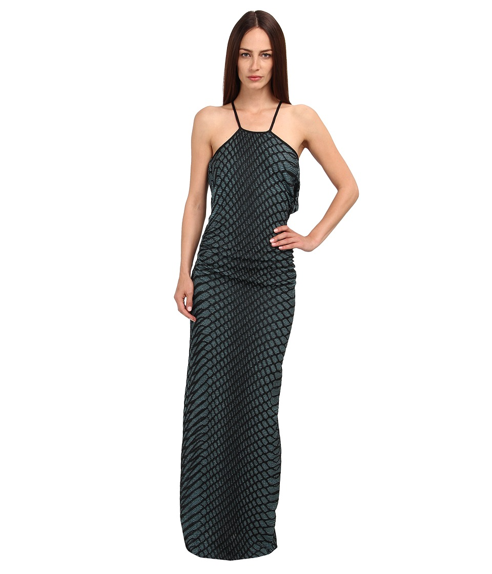 M Missoni - Web Relief Maxi Dress w/ Drape Back (Turquoise) Women's Dress