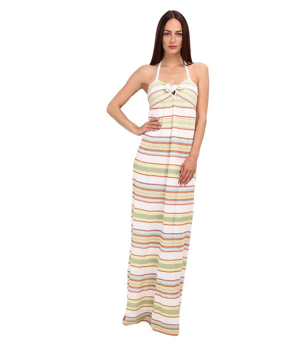 M Missoni - Ribbon Stripe Knit Maxi Dress (White) Women's Dress