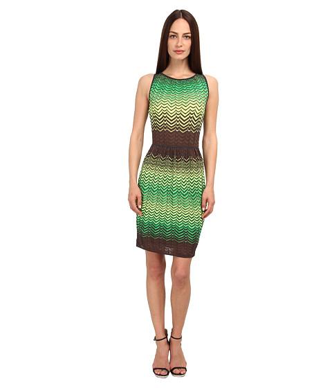 M Missoni - Sheer Intarsia Zig Zag Sleeveless Dress (Leaf) Women's Dress