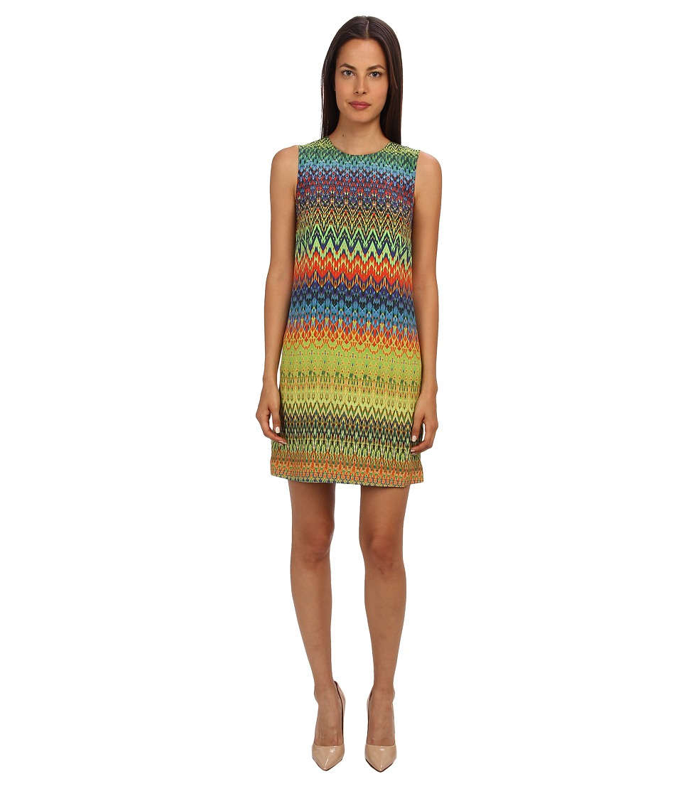 M Missoni - Zig Zag Print Silk Shift Dress (Multi) Women's Dress