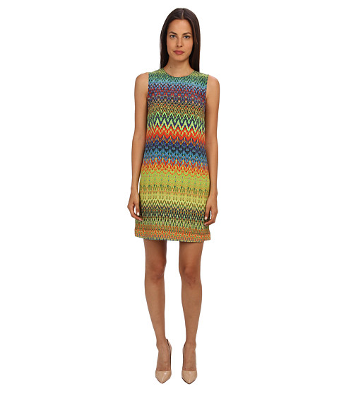 M Missoni - Zig Zag Print Silk Shift Dress (Multi) Women