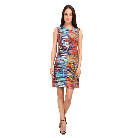 M Missoni - Kaleidoscope Print Silk Shift Dress (Turquoise) Women