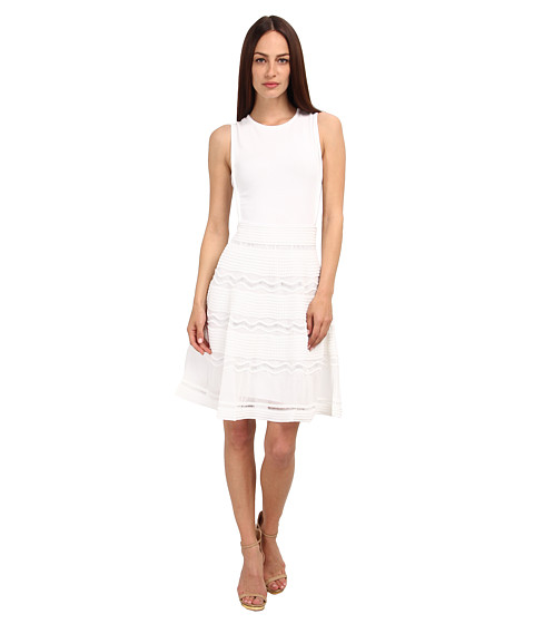 M Missoni - Solid Rib Stitch Tank Dress (White) Women