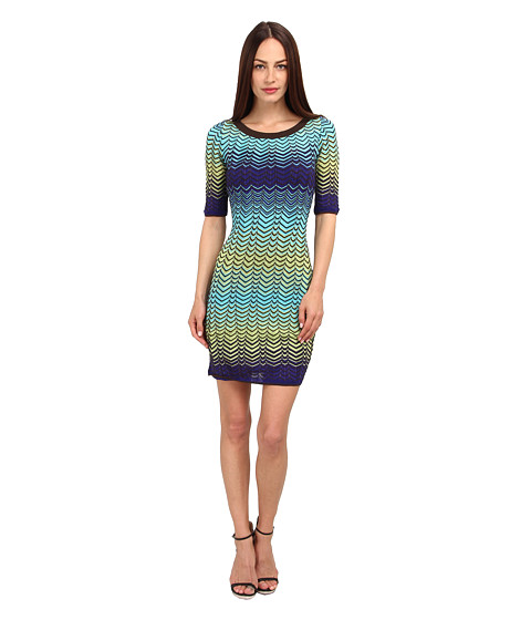 M Missoni - Sheer Intarsia Zig Zag Short Sleeve Dress (Turquoise) Women