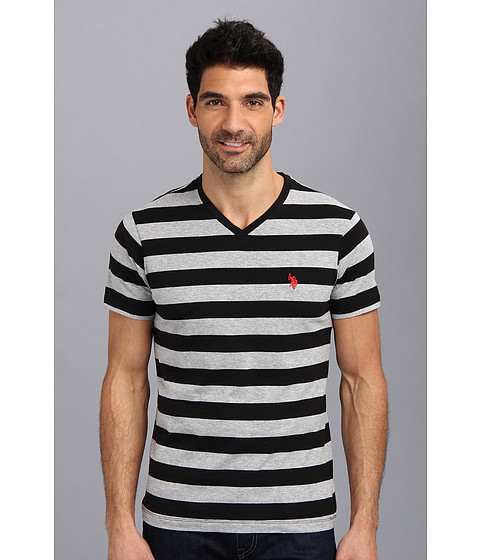 U.S. POLO ASSN. - Medium Stripe V-Neck T-Shirt (Black/Heather Gray) Men's T Shirt