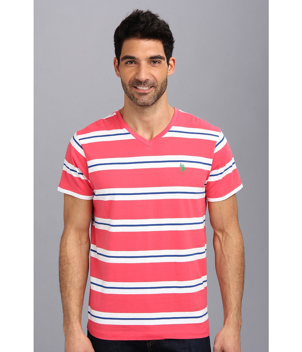 U.S. POLO ASSN. - Tricolor Stripe V-Neck T-Shirt (Pink Martini) Men's T Shirt