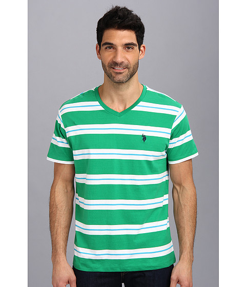 U.S. POLO ASSN. - Tricolor Stripe V-Neck T-Shirt (Amazon Green) Men's T Shirt