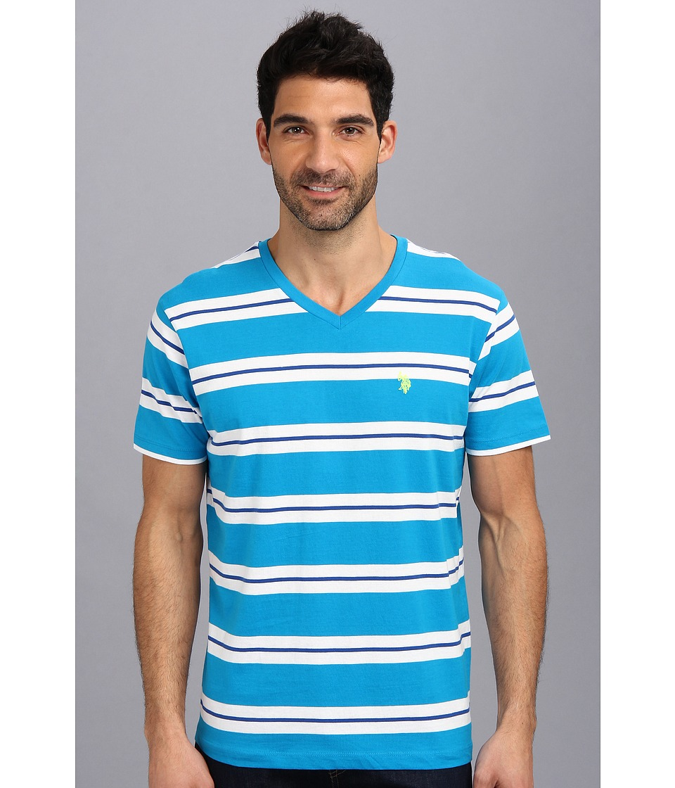 U.S. POLO ASSN. - Tricolor Stripe V-Neck T-Shirt (Teal Blue) Men's T Shirt