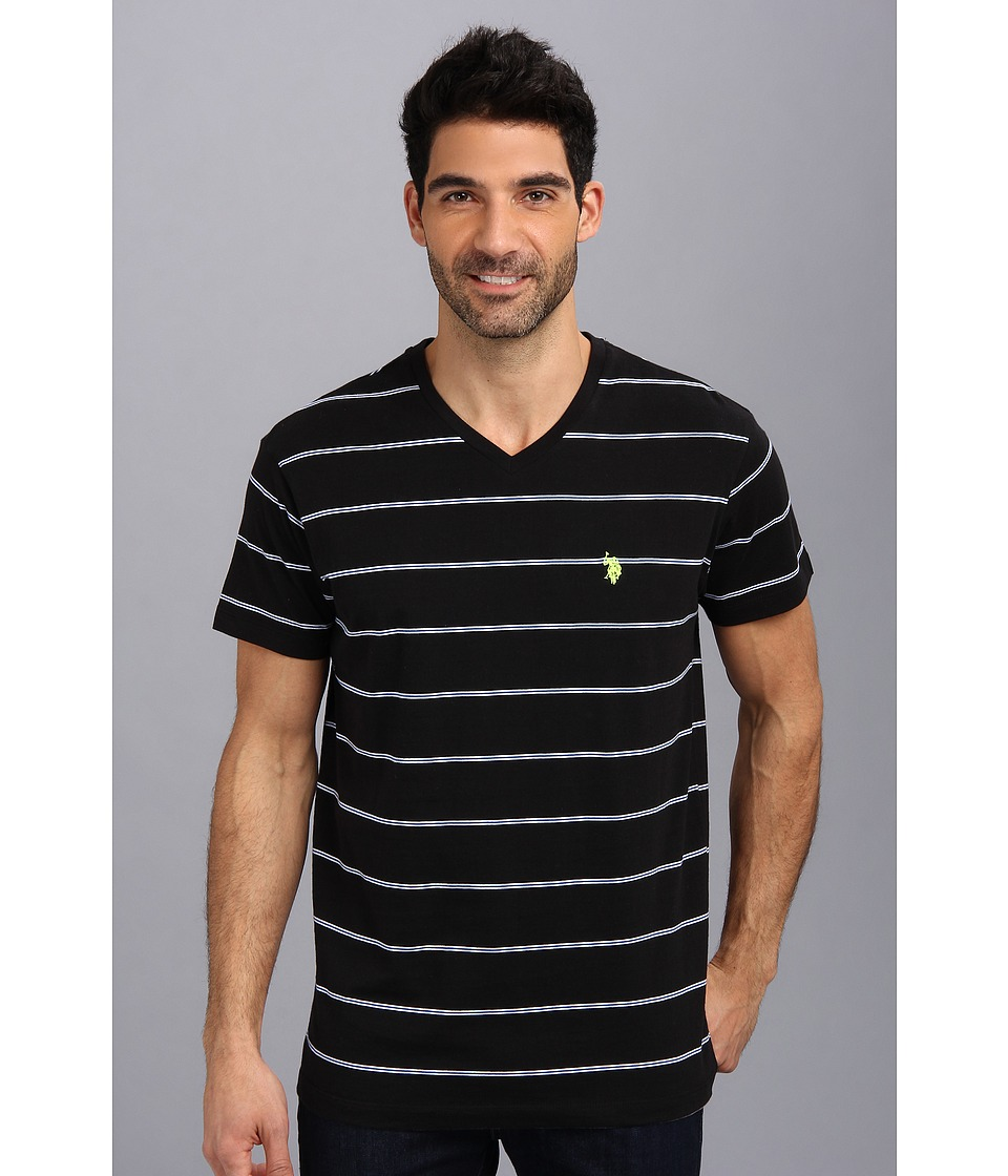 U.S. POLO ASSN. - W Strip V-Neck T-2N (Black) Men's T Shirt