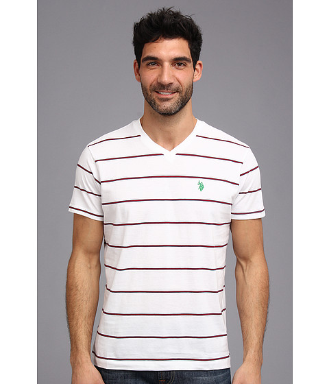 U.S. POLO ASSN. - W Strip V-Neck T-2N (White) Men's T Shirt