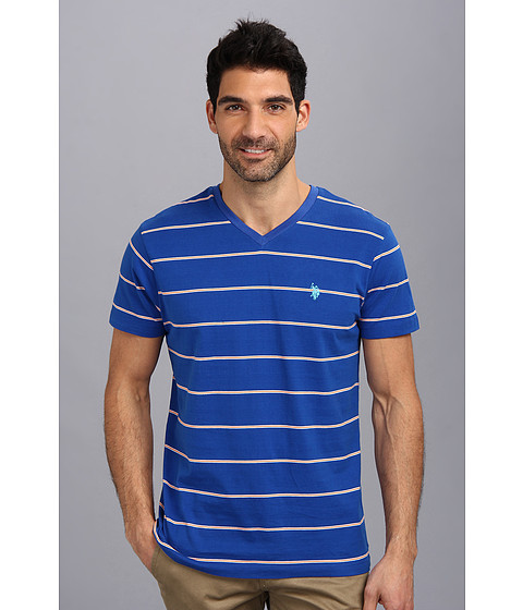 U.S. POLO ASSN. - W Strip V-Neck T-2N (Cobalt Blue) Men's T Shirt