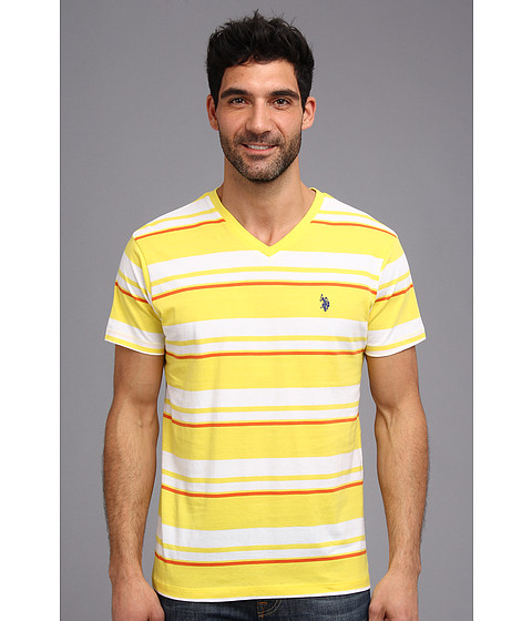 U.S. POLO ASSN. - Multi Stripe Sp T-2N (Laser Yellow) Men's Short Sleeve Pullover