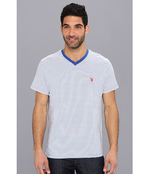 U.S. POLO ASSN. - Mini Stripe V-Neck-2N (Cobalt Blue) Men's T Shirt