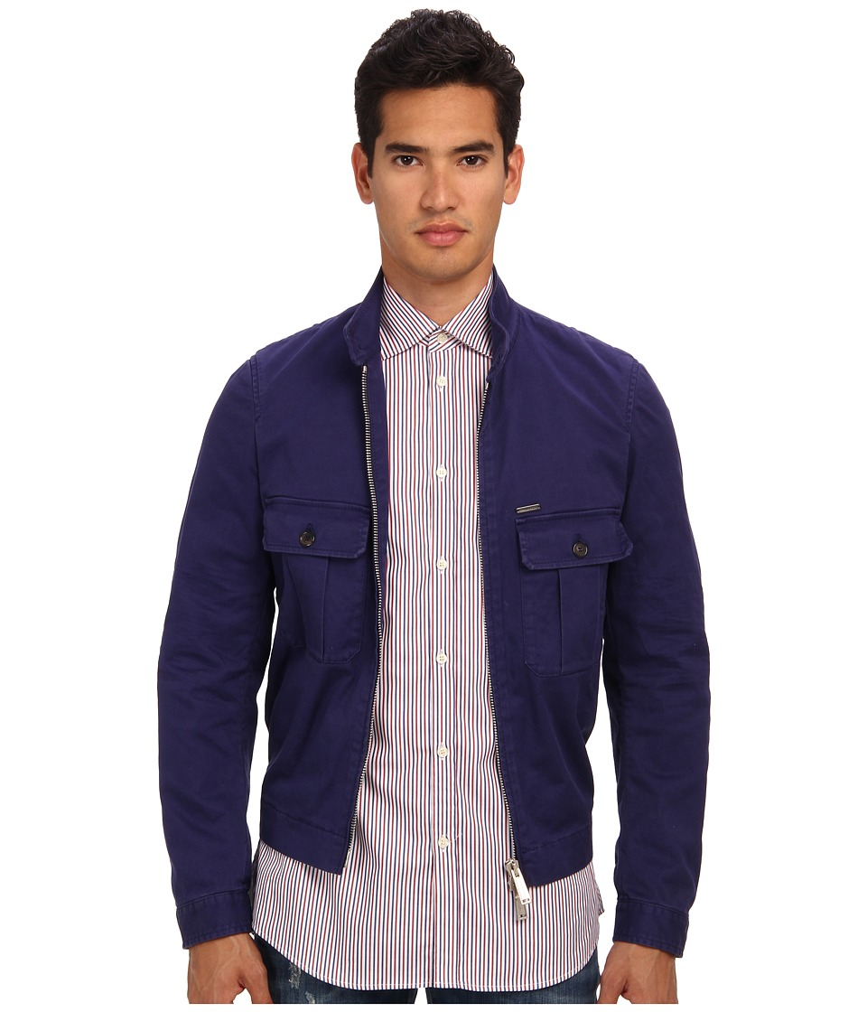 DSQUARED2 - Runway Stretch Twill Cotton Jacket (Blue) Men's Coat