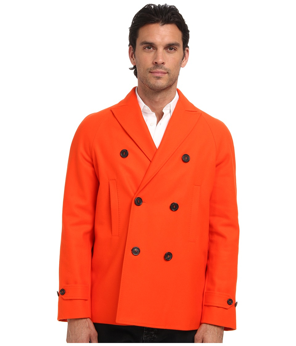 DSQUARED2 - Runway Heavy Felt Wool Pea Coat (Orange) Men