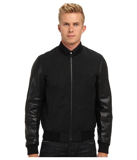 DSQUARED2 - Runway Leather Sleeves Bomber (Black) Men's Coat