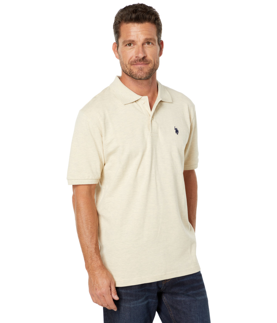 U.S. POLO ASSN. - Solid Cotton Pique Polo with Small Pony (Oatmeal Heather/Classic Navy) Men's Short Sleeve Knit