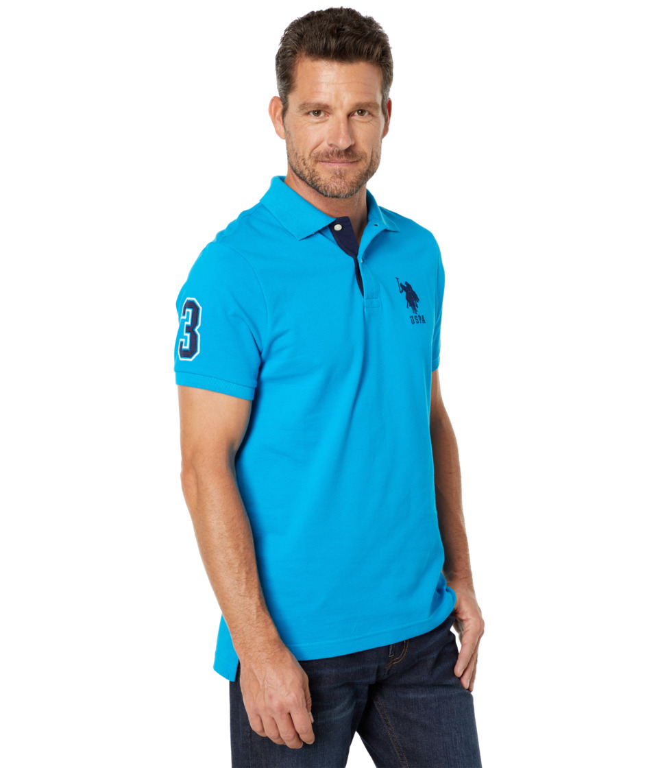 U.S. POLO ASSN. - Slim Fit Big Horse Polo w/ Stripe Collar (Teal Blue) Men