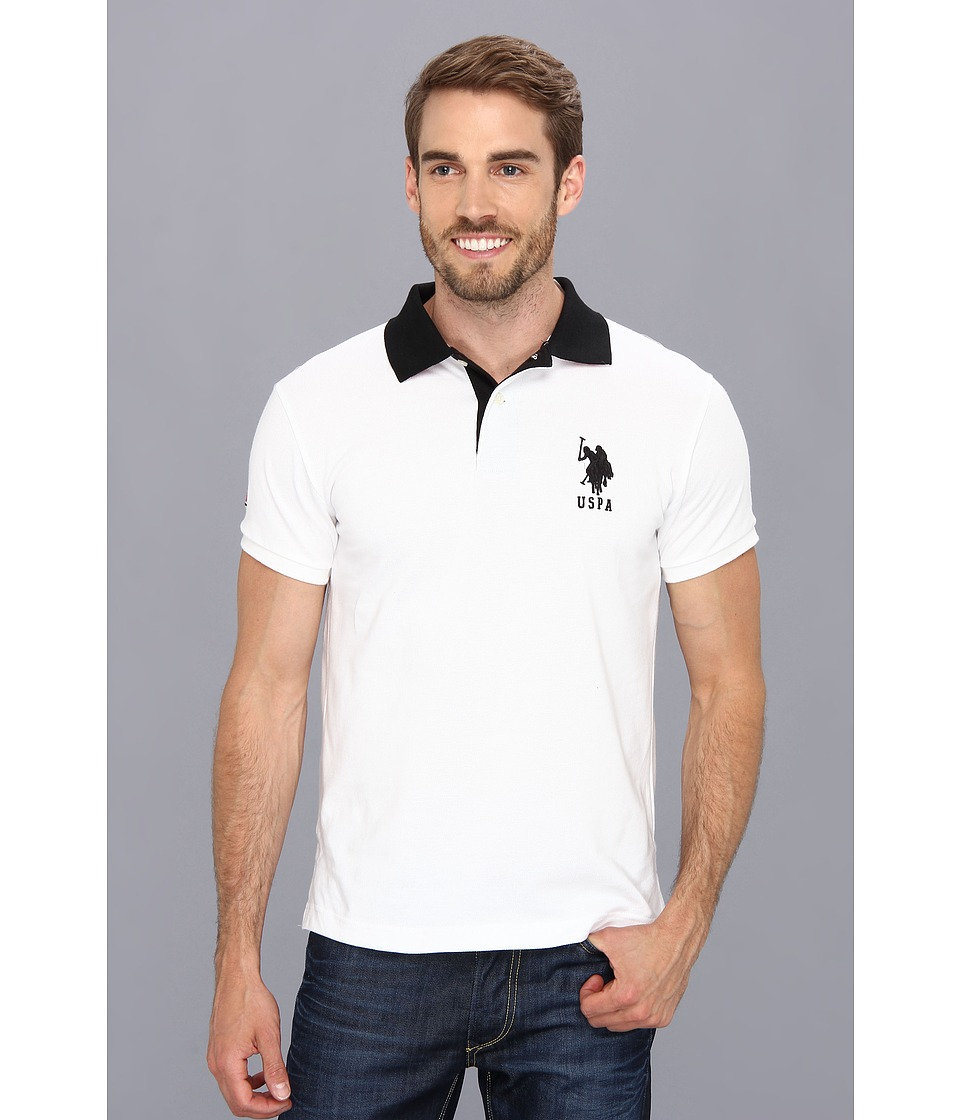 U.S. POLO ASSN. - Slim Fit Big Horse Polo w/ Stripe Collar (White) Men's Short Sleeve Pullover