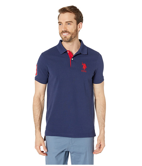 U.S. POLO ASSN. - Slim Fit Big Horse Polo w/ Stripe Collar (Classic Navy) Men